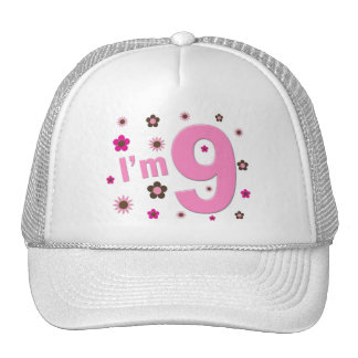 I'm 9 Pink And Brown Flowers Cap