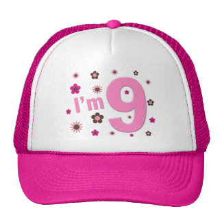 I'm 9 Pink And Brown Flowers Hat