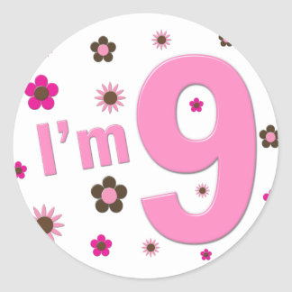 I'm 9 Pink And Brown Flowers Stickers