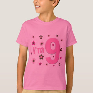 I'm 9 Pink And Brown Flowers T-Shirt