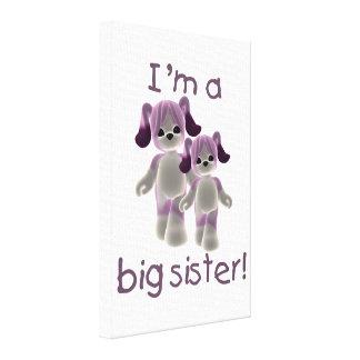 I'm a big sister (purple puppies) canvas prints