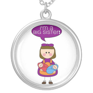i'm a big sister (twin brother and sister) silver plated necklace