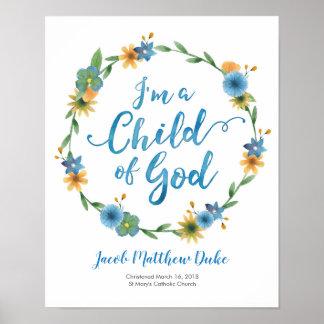I'm a child of God personalised Baptism print