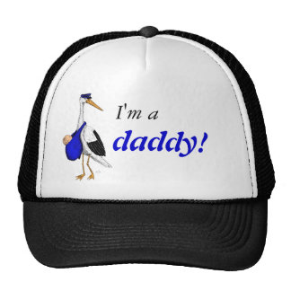 """I'm a daddy!"" hat with the Delivery Stork"
