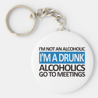 I'm A Drunk - Blue Basic Round Button Key Ring