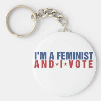 I'm a feminist and I vote Basic Round Button Key Ring