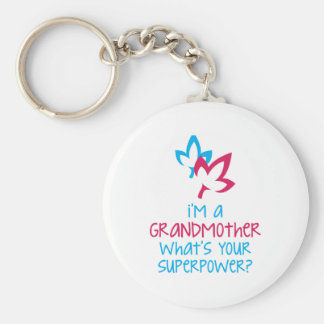 I'm A Grandmother What's Your Superpower? Basic Round Button Key Ring