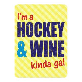 I'm A Hockey & Wine Kinda Gal 11 Cm X 16 Cm Invitation Card