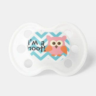"""I'm a hoot!"" Chevron and Owl Baby Pacifier"