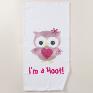 I'm a Hoot Pink Owl Beach Towel