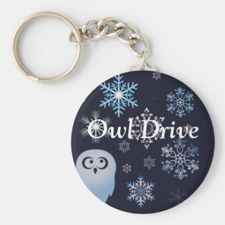 I'm A Hoot Snowy Owl Christmas Owl Blue Basic Round Button Key Ring