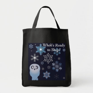 I'm A Hoot Snowy Owl Christmas Owl Blue Grocery Tote Bag