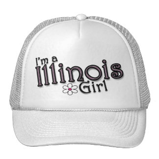 I'm a Illinois Girl, Flower, Ladies Baseball Cap Mesh Hats
