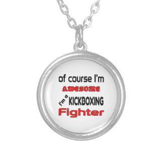 I'm a Kickboxing Fighter Round Pendant Necklace