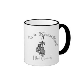 I'm A Knockout I Beat Brain Cancer Ringer Mug