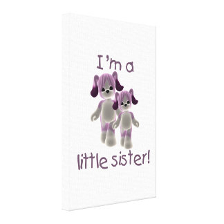 I'm a little sister (purple puppies) stretched canvas print