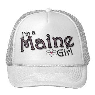 I'm a Maine Girl, Flower, Ladies Baseball Cap Trucker Hat