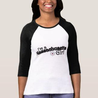 I'm a Massachusetts Girl, Flower, Black T-Shirt