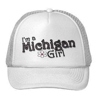 I'm a Michigan Girl, Flower, Ladies Baseball Cap Mesh Hats