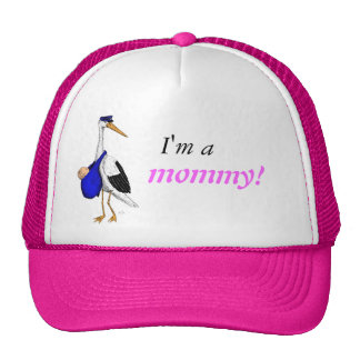 """I'm a mommy!"" hat with the Delivery Stork"