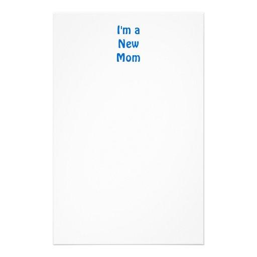 I'm a New Mom. Blue. Stationery Paper