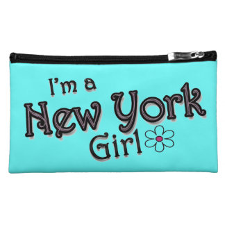 I'm a New York Girl, Flower, Blue Bagettes Bag Cosmetics Bags