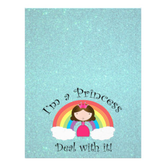 I'm a princess deal with it turquoise glitter 21.5 cm x 28 cm flyer