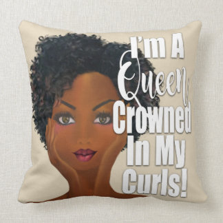 I'm A Queen Crowned in Curls Affirmation Cushion