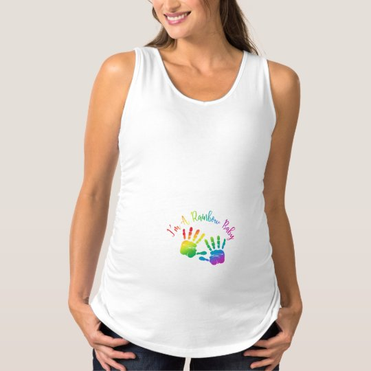 I'm A Rainbow Baby Maternity Tank Top, Handprints