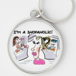I'm a shopaholic! Silver-Colored round key ring