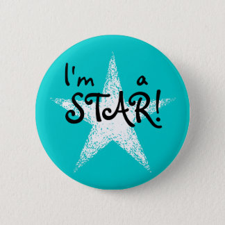 I'm a STAR! | Turquoise 6 Cm Round Badge