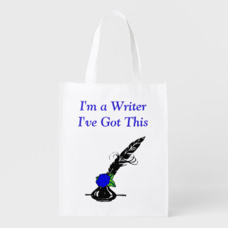 Im A Writer Black Blue Rose Ink Quill Grocery