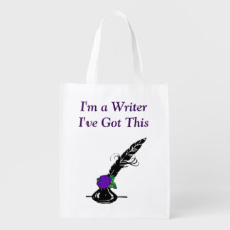Im A Writer Black Purple Rose Ink Quill Grocery