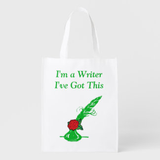 Im A Writer Red Rose Green Ink Quill Grocery Market Totes
