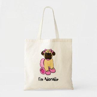 I'm Adorable Girly Pug Tote Bag