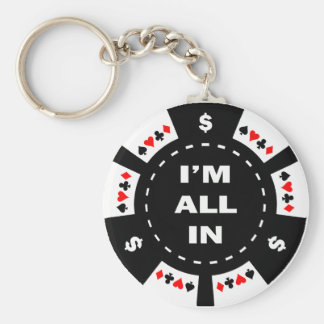 I'm All In Poker Chip Basic Round Button Key Ring