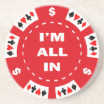 I'm All In Red Poker Chip Coaster
