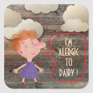 I'M ALLERGIC GLUTEN DAIRY SWEET RUSTIC GIRL CLOWDS SQUARE STICKER