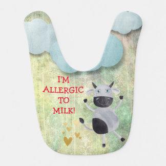 I'm Allergic Milk Funny Cow Blue Sky Clouds Bib