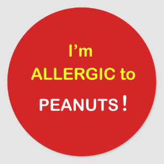 I'm Allergic - PEANUTS. Classic Round Sticker