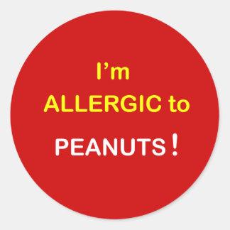 I'm Allergic - PEANUTS. Round Sticker