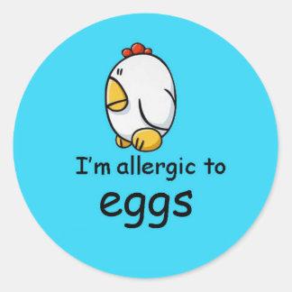 I'm allergic to eggs (more designs in store) round sticker