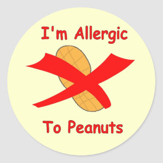 I'm Allergic to Peanuts Stickers in Yellow