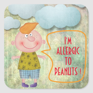 I'M ALLERGIC TO PEANUTS SWEET RUSTIC BOY CLOWDS SQUARE STICKER