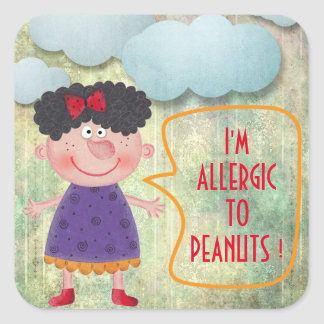 I'M ALLERGIC TO PEANUTS SWEET RUSTIC GIRL CLOWDS SQUARE STICKER
