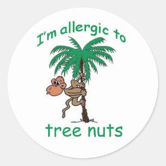 I'm allergic to Tree Nuts Round Sticker