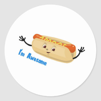 I'm Awesome (hotdog) Classic Round Sticker