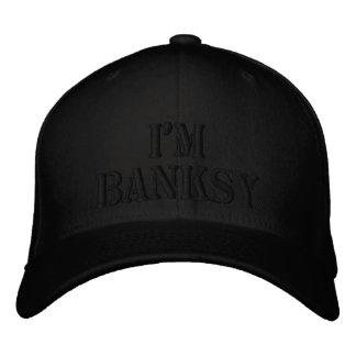 I'm Banksy Stencil Basic Black Flexfit Wool Cap Embroidered Baseball Cap