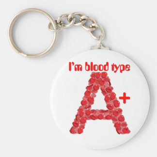 I'm blood type A positive Basic Round Button Key Ring