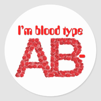 I'm blood type AB negative Classic Round Sticker